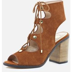 River Island Tan suede ghillie lace up heeled sandals