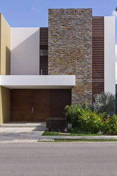 Zening life: 144 - Facades with different textures – Fachadas com diferentes texturas Design Exterior, Facade Design, Modern Exterior, Modern House Facades, Modern House Design, Facade Architecture, Contemporary Architecture, Contemporary Design, Building Facade