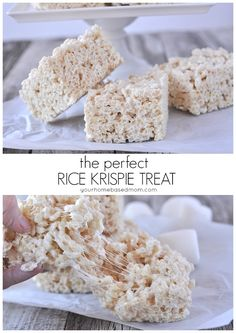 How to make the perfect Rice Krispie Treat. Well, almost perfect.I add 1 tsp. vanilla to the melted marshmallow before stirring in the Rice Krispies. Köstliche Desserts, Dessert Recipes, Popcorn Recipes, Fudge Recipes, Candy Recipes, Rice Recipes, Recipies, Best Rice Krispie Treats Recipe, Microwave Rice Krispie Treats