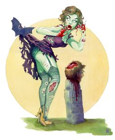 """Midnight Snack"" Zombie Halloween Pinup"