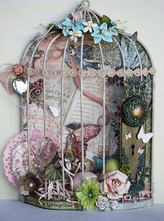 Bill Giyaman posted DIY bird cage lamp - - dutch interior & crafts magazine to their -birds- postboard via the Juxtapost bookmarklet. Graphic 45, Altered Boxes, Altered Art, Paper Art, Paper Crafts, Diy Crafts, Art Projects, Projects To Try, Shabby Chic Crafts