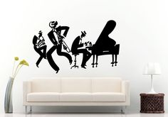 Jazz Sax Saxophone Instrument Tool Band Musical Genre Man Funny Band Wall Decal Vinyl Sticker Mural Room Decor L1152
