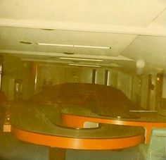 This is now the trophy room. It was originally made to house Elvis' slot car racetrack, seen here.