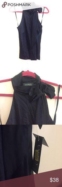 Lauren Ralph Lauren Navy Halter Top 100% Silk Navy Halter with side tie at the neck. New With Tags Lauren Ralph Lauren Tops Blouses