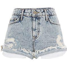 River Island Acid Wash Distressed Ruby Denim Shorts, $60; riverisland.com     - ELLE.com
