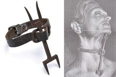 """Heretics Fork- was used on blasphemers and liars. It consisted of a double sided """"fork"""" that was strapped between the victim's throat and breast bone. This device made it impossible to fall asleep (if your head bend down you would be stabbed by the ends of the forks) or to speak. By keeping this on the person and depriving them of sleep, confessions became more probable."""