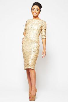 faa496b7ad Buy Koo Ture Angel Matte Gold Large Sequin Sleeved Midi Dress from our  Clothing range -   Dollywood Boutique