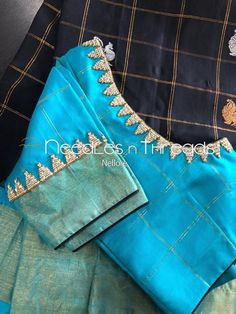 New blouse designs indian bridal blue ideas Pattu Saree Blouse Designs, Simple Blouse Designs, Stylish Blouse Design, Blouse Back Neck Designs, Fancy Blouse Designs, Maggam Work Designs, Baby Dress Design, Designer Blouse Patterns, Work Blouse