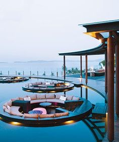 Most Pinned Travel Photos: Koh Samui, Thailand.Koh Samui has evolved to include high-style villas, tourist-filled streets, and all the trappings of an anointed island of the moment. Vacation Destinations, Dream Vacations, Vacation Spots, Oh The Places You'll Go, Places To Travel, Floating Lounge, Floating Restaurant, Ko Samui, Koh Samui Thailand