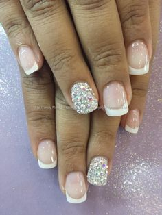 Pink and white acrylic overlays with swarovski crystal ring fingers
