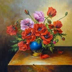 Floral Oil Paintings | Images Paintings on China Tradition Red Flower Oil Painting ...