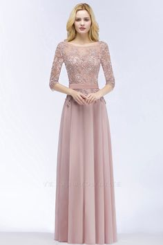 A-line Appliques Jewel Half-Sleeves Floor-Length Bridesmaid Dresses with Sash | Yesbabyonline.com
