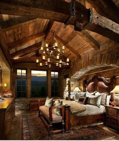 I would love to wake up and look out to that breath taking view #LogCabins #Bedrooms #Cabin #LogHomeDecorating