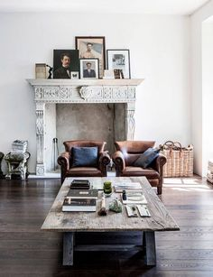 Fireplace + leather chairs + clustered frames.