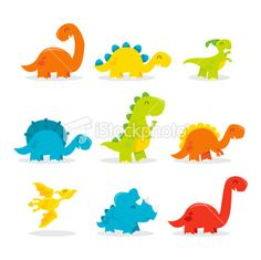 Cute Cartoon Dinosaurs | Cute Fun Dinosaur Set Illustration - TotallyJamie.com | Royalty free ...