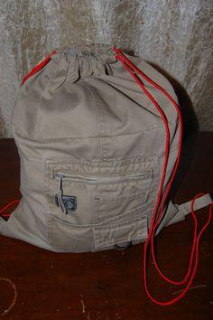 Repuposed pants into drawstring backpack