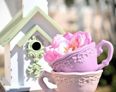 BIRDHOUSE  charming shabby chic green and white by briberrie, $25.00