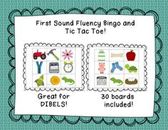 A class set of Bingo Cards for First Sound Fluency.  There are 30 different game boards included.  Great for practicing DIBELS!