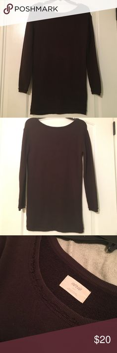 Aerie Dark Brown Sweater Long sweater, great paired with leggings. Made in Vietnam. Great condition. On the looser side. aerie Tops Sweatshirts & Hoodies