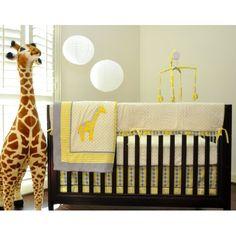 Pam Grace Creations Argyle Yellow 10 Piece Crib Bedding Set With Giraffe Theme Safari Nursery