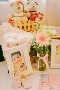 Memorabilia Table props and styling by Something Pretty Manila Photo by Sugarpuff Photography #pinkandwhite #shabbychic
