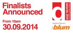 The 2014 finalists for the Designer Kitchen & Bathroom Awards will be announced from 10 am 30.9.2014 #DesignerAwards14