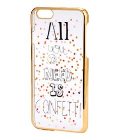 Hard smartphone case in transparent, printed plastic with gold-colored edges. Fits iPhone 6. | H&M Accessories