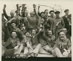 Polish prisoners celebrate their liberation from Dachau concentration camp