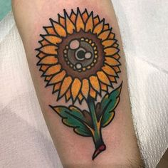 Dope Traditional sunflower tattoo