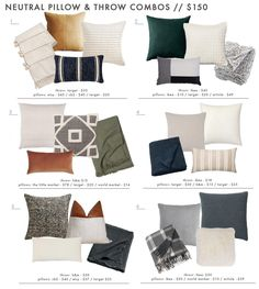 18 Neutral (and Textured) Pillow Combos + 5 Rules for Guaranteed Combo-ing Success - Emily Henderson Emily Henderson How to Mix Throw Pillows Living Room Pillows, Sofa Pillows, Home Living Room, Living Room Decor, Decor Pillows, Bedroom Decor, Gray Couch Living Room, Grey Couch Decor, Leather Throw Pillows