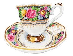 Vintage Floral Teacup Illustration Original Painting by HollyExley