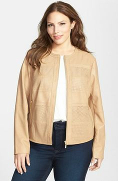 Bernardo Perforated Leather Jacket (Plus Size) available at #Nordstrom