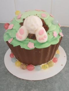 Giant cupcake Easter Bunny