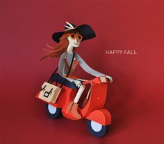 Chloe Fleury Paper Sculpture Art Illustration happy_fall