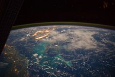 Caribbean Sea Viewed From the International Space Station From the Earth-orbiting International Space Station, flying some 225 nautical miles above the Caribbean Sea in the early morning hours of July 15, NASA astronaut Reid Wiseman photographed this north-looking panorama that includes parts of Cuba, the Bahamas and Florida, and even runs into several other areas in the southeastern U.S. The long stretch of lights to the left of center frame gives the shape of Miami.