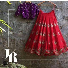 Looking for a lehenga to wear at the wedding? Then check out these 40 trending Groom sister outfits. Half Saree Lehenga, Lehnga Dress, Red Lehenga, Lehenga Style, Indian Lehenga, Saree Blouse, Anarkali, Dress Skirt, Half Saree Designs