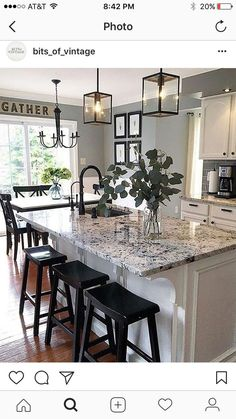 Supreme Kitchen Remodeling Choosing Your New Kitchen Countertops Ideas. Mind Blowing Kitchen Remodeling Choosing Your New Kitchen Countertops Ideas. White Kitchen Cabinets, Kitchen Redo, Kitchen Countertops, Kitchen Cabinetry, Kitchen Sinks, Kitchen Islands, Kitchen Paint, Gray Kitchen Walls, Laminate Countertops