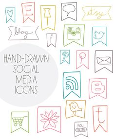 Social Media Icons: each icon comes in 8 colors shown, $6