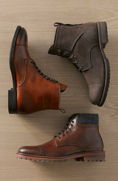 J&M 1850 & # Karnes & # Brogue Cap Toe Boot (Hombres) - Ropa Caballero - Zapatos Mens Shoes Boots, Mens Boots Fashion, Fashion Shoes, Shoe Boots, Mens Brown Leather Shoes, Leather Boots, Stylish Mens Outfits, Casual Boots, Mens Clothing Styles