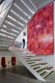 Infor New York City Headquarters Office Reception and Entry Modern Staircase Design Commercia. Infor New York City Headquarters Office Reception and Entry Modern Staircase Design Commercial Stai Corporate Office Design, Corporate Interiors, Workplace Design, Office Interiors, Healthcare Design, Grey Interior Doors, Interior Stairs, Office Interior Design, Modern Interior