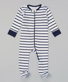 This Navy & White Stripe Organic Footie - Infant is perfect! #zulilyfinds