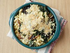 Creamy Baked Macaroni and Cheese with Kale and Mushrooms from FoodNetwork.com