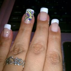 Hand painted flower and French manicure design