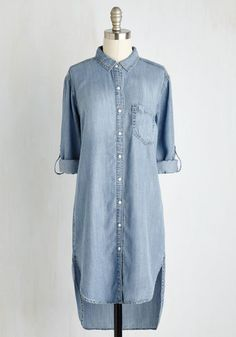 Everyday Adventurous Tunic - Blue, Solid, Pockets, Casual, Menswear Inspired, 3/4 Sleeve, Spring, Woven, Better, Collared, Long