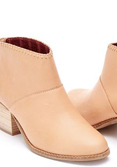 This ankle bootie starts with a stacked mid-heel and zips up the back. Designed in vachetta leather, you'll wear this staple with everything from skirts to cuffed jeans. Cute Shoes, Me Too Shoes, Cuffed Jeans, Capsule Wardrobe, Ankle Booties, Heeled Mules, Personal Style, Toms, Bloom