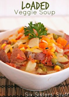 Healthy Loaded Veggie Soup | Six Sisters' Stuff