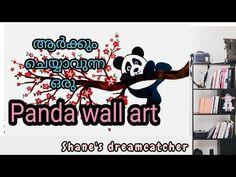CUTE PANDA WALL ART   WALL DECOR  WALL DRAWING  DIY WALL MAKEOVER   PANDA WALL DESIGN - YouTube Diy Wall, Wall Decor, Wall Art, Panda Drawing, Wall Drawing, Cute Panda, Wall Design, Dream Catcher, Feelings