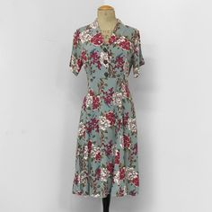 Celadon Berry Floral Print Short Sleeve Vintage Dress - French Rayon Crepe