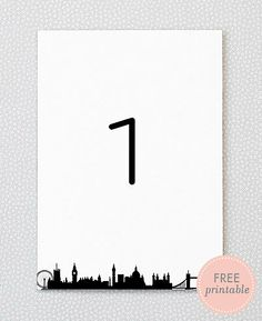 Free printable table numbers - London Skyline!