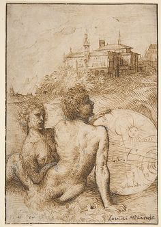 Two Satyrs in a Landscape. Artist: Titian (Tiziano Vecellio) (Italian, Pieve di Cadore ca. 1485/90?–1576 Venice) Date: ca. 1505-10 Medium: Pen and brown ink, highlighted with white gouache on fine, off-white laid paper